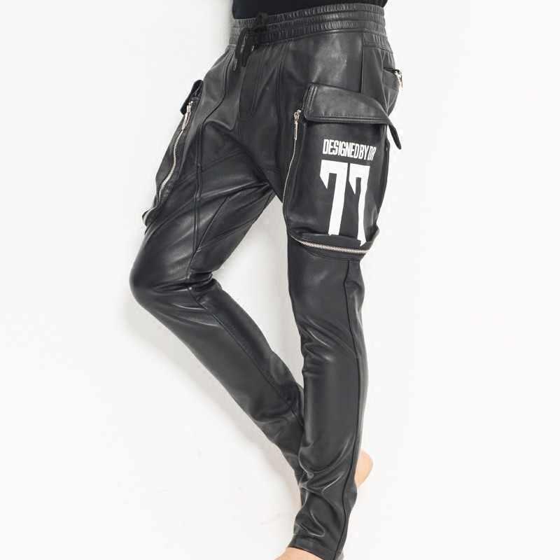 Nueva moda para hombre Casual bolsillos grandes cintura elástica pantalón bombacho de estilo harén piel de oveja pantalones de cuero genuino gota entrepierna Cruz pantalones 35