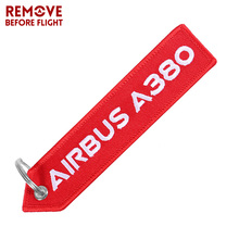 AIRBUS A380 Keychain Red Double Side Embroidery Car Aviation Key Ring Chains for Gift Strap Lanyard Tag Keychains