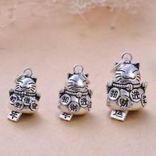 1 шт реальные 925 пробы серебро сладкий сокровище кошка бусина