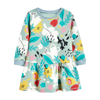 1-7 Years Floral Cotton Dress for Kids Baby Girl  Long-sleeved Doll Collar Clothes for Toddler Girl  for Autumn and Spring  2020 - Color 13, 2T