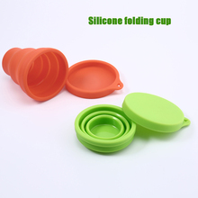 Mini Silicone Foldable Cup with Hook Travel Portable Retractable Cup Compression silicon Cup Outdoor Sports Cup portable viscosity cup 4 zahn cup