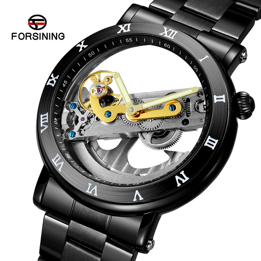Mechanical-Watches Luminous-Clock Stainless-Steel Transparent Skeleton Automatic Forsining Men title=