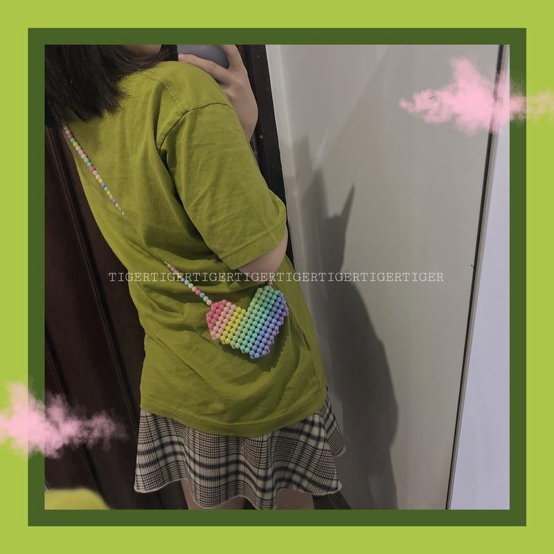 Rainbow Lovely Heart Crystal Acrylic Beaded Bag Handmade Crossbody Bag Candy Color Messenger Bags Beach Holiday Girl's Purse