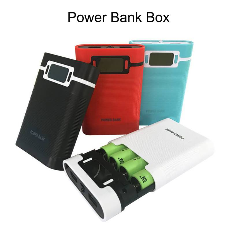 4x18650 Power Bank Case with LED Flashlight LCD Display Battery Charger Battery Storage Box Dual USB Power Bank Box For Phone