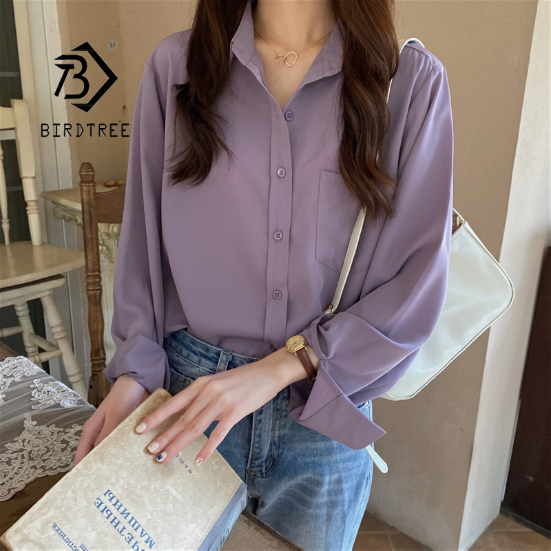 2020 New Arrival Women Vintage Oversized Blouse Batwing Sleeve Purple Shirt Casual Big Pockets Chic Tops Feminina Blusa T05505F