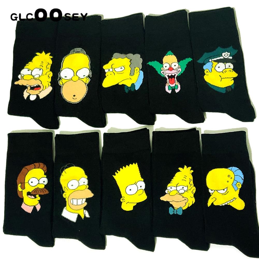 10 pares/pacote personalidade engraçado feliz algodão casal amantes meias preto mid-high bonito meias para homens e mulheres meias faculdade
