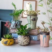 Creative hand made large size ceramic pot pot set with multi meat customized individual potted craft decoration