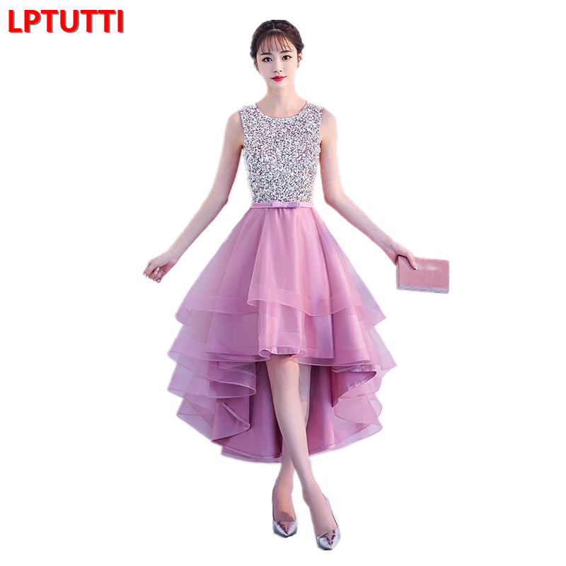 LPTUTTI CRYSTAL Sequin New Sexy Woman Social Festive Elegant Formal Prom Party Gowns Fancy Short Luxury   Cocktail     Dresses