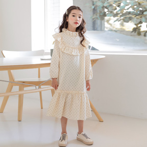 Image 5 - Nowy 2020 dziecko księżniczka sukienka nastoletnia sukienka na jesień dzieci śliczna sukienka sukienka dla dziewczynek wypoczynek maluch sukienka w kropki bawełna, #5092