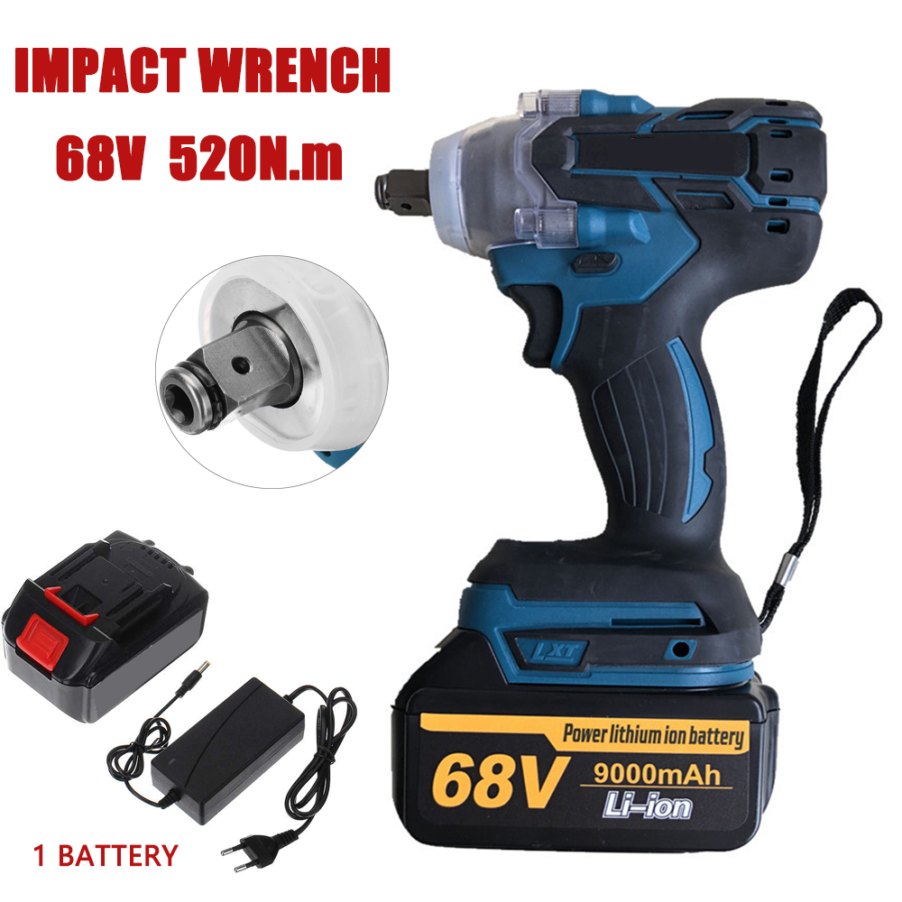 68V 520N.m Impact Wrench Electric Brushless Screwdriver Speed 1/2