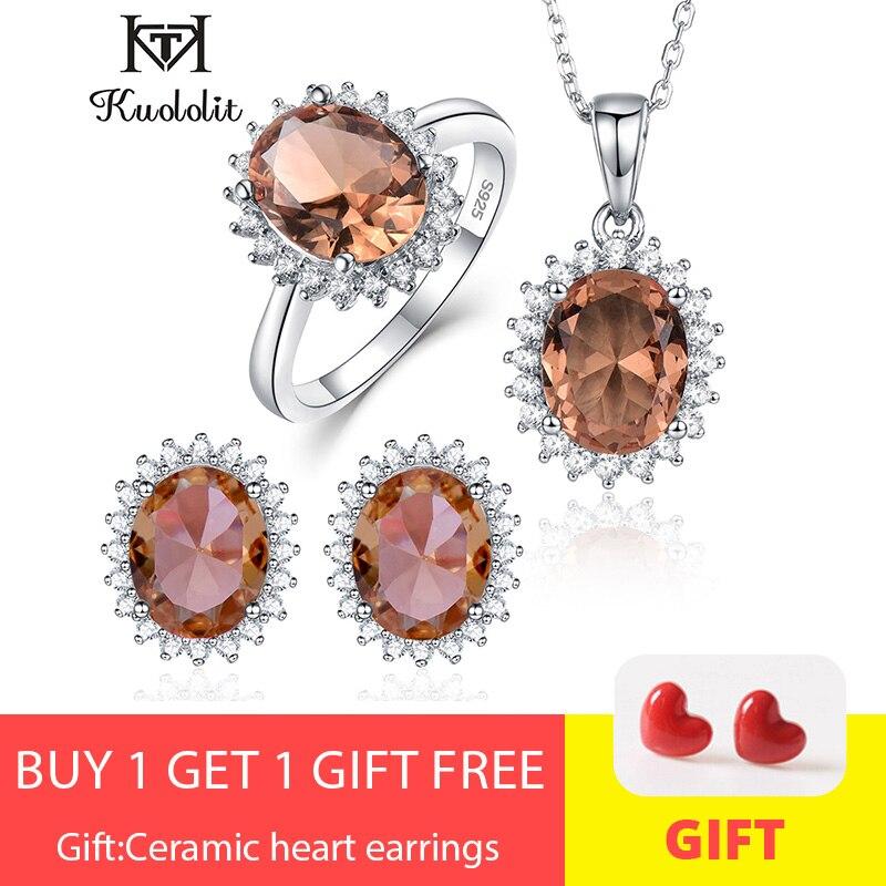 Kuololit Zultanite pierre gemme ensemble de bijoux pour les femmes solide 925 en argent Sterling anneau boucles d'oreilles colliers changement de couleur pierre pour les femmes