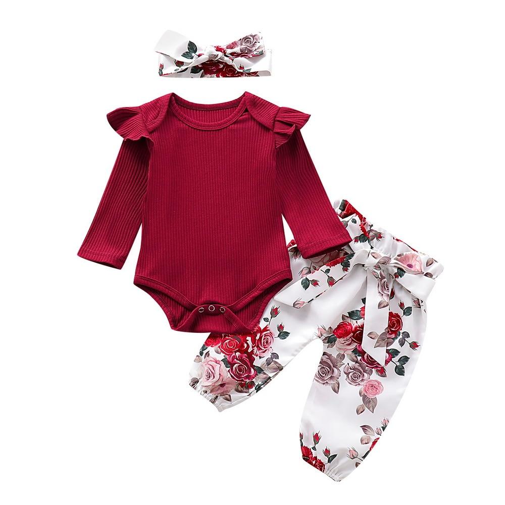 3pcs Newborn Baby Girl Floral Clothes Jumpsuit Romper Pants Headband Outfits Set