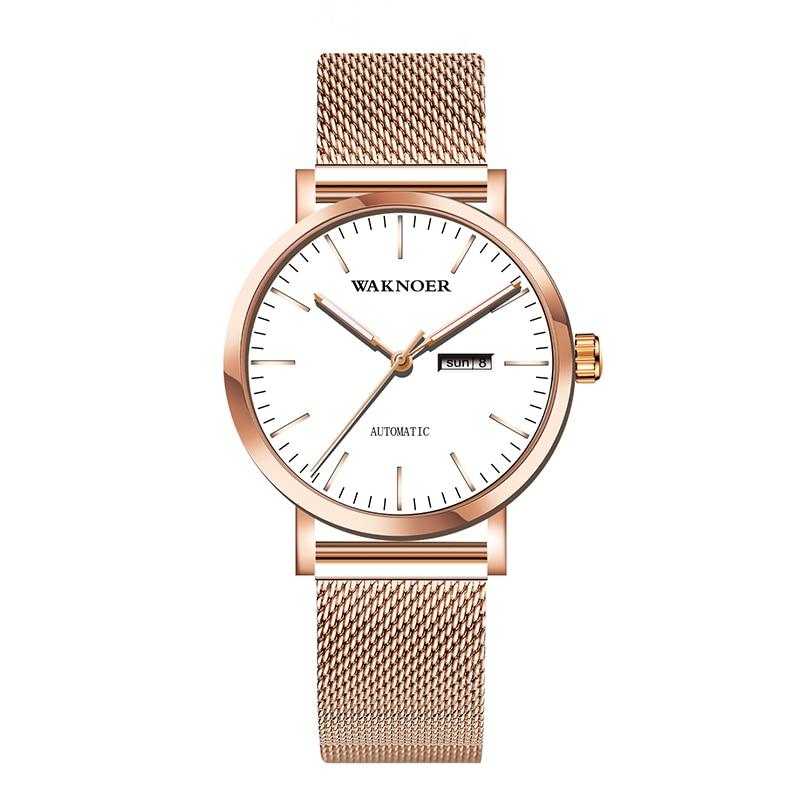 WAKNOER Women's Mechanical Watches For Women Mesh Belt Sports Calendar Automatic Mechanical Watches Women Reloj Mujer Relogio