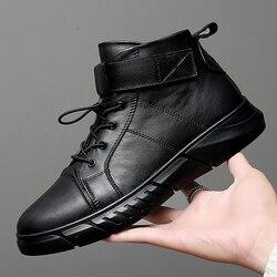 Outono Inverno Sapatos Maré Alta dos homens Versão Coreana Da Tendência de Sapatos Mais Sapatos de Veludo de Algodão Dos Homens de Alta Topo sneakers