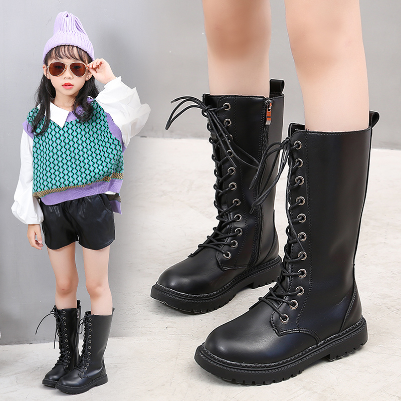 Boys Girls Leather Boots autumn Children's Fashion Boots Waterproof Side Tether Kids Ankle Booties for Girl Casual Martin Shoe