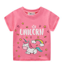 3-8 years old girls T-shirt unicorn pattern high quality cotton moisture wicking(China)