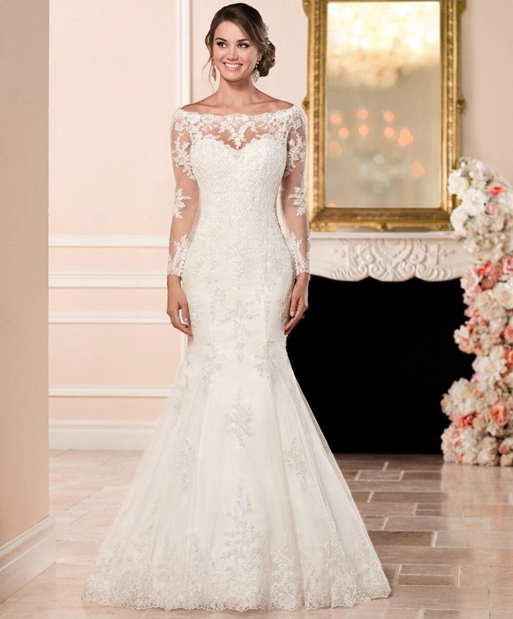 Hot Sale Vestidos De Noiva Customed Wedding Dress Simple Elegant Deep Round Neck Vintage Bridal Mermaid Dress Wedding Dresses Aliexpress