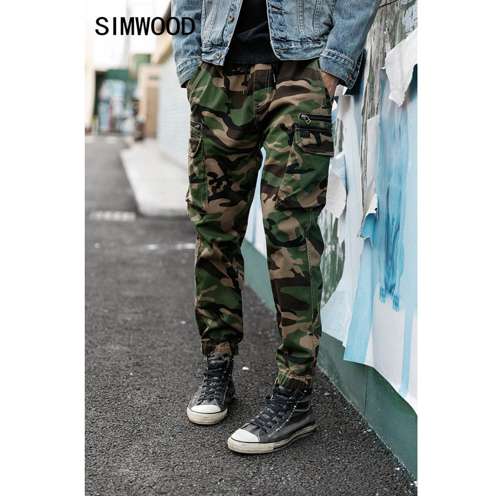 SIMWOOD 2019 Autumn Winter New Cargo Camouflage Drawstring Pants Men Hip Hop Streetwear High Quality Trousers Multi Pockets Ankle-length Pants SI980538