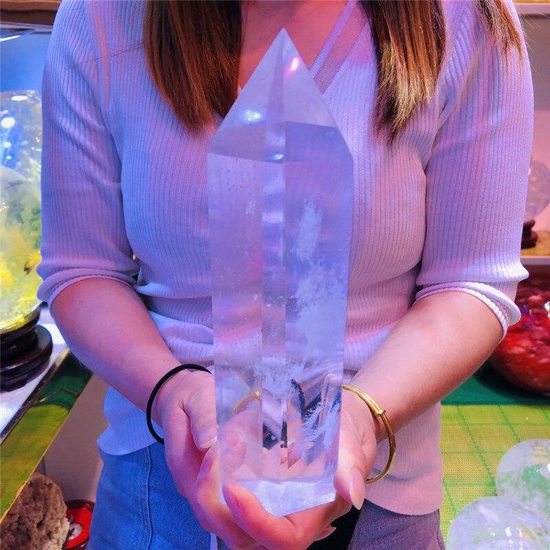 Белый плавленый кварцевый кристалл ТОЧКА исцеления обелиск шестиугольная палочка аура подарок для друзей и семьи для содействия естествен...