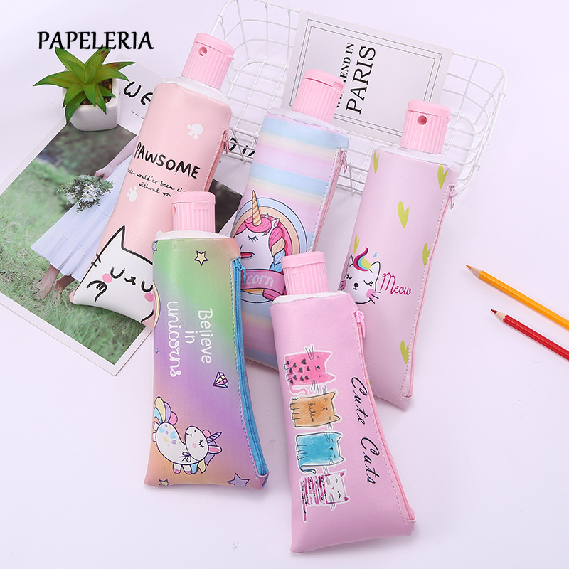 Animal Toothpaste PU Pencil Case With Pencil Sharpener Stationery Storage Bag School Supplies For Girl Students Gifts