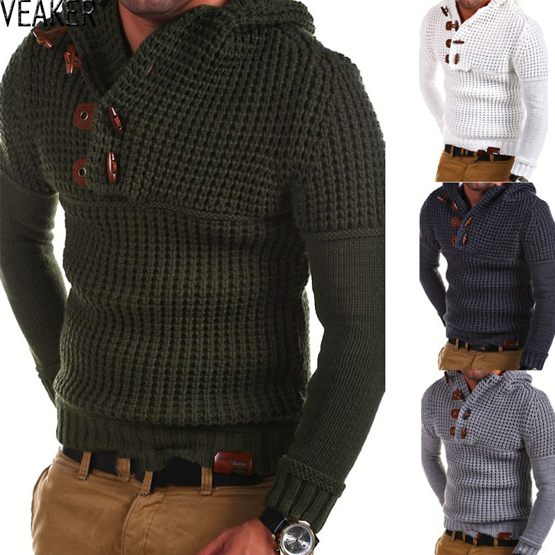 2019 New Men's Knitted Twist Sweater Male Button Turtleneck Hooded Slim Fit Sweaters Autumn Long Sleeve Solid Color Pullovers