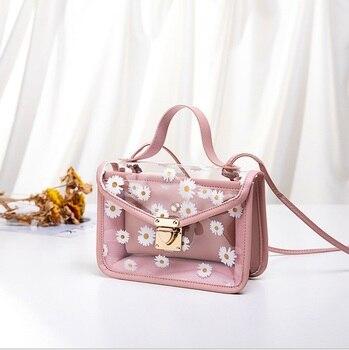 Bolso de mano de diseño de flores transparente para mujer 2020, bolso con tira de cadena, bolso de mensajero compuesto