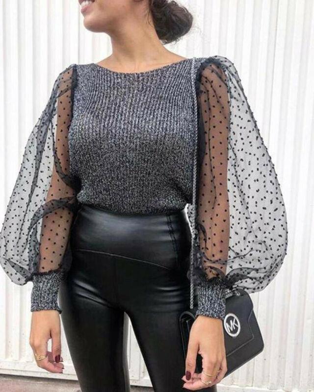 Women Puff Sleeve Knitwear Mesh O-neck Pullover Autumn Women Polka Dot Winter Top Knitted Turtleneck Thin Elegant Sweater New