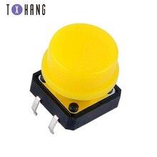 цена на 10PCS 4 pin Tactile Tact Mini Push Button Switch 12x12x7.3/12mm 4p SMT Vertical Micro Switch Yellow and black button