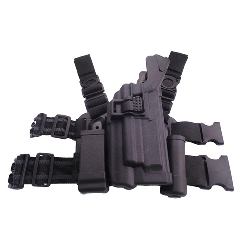Level 3 Military Combat Tactical Leg Gun Holster Case With Light Magazine Pouch for 92 96 BLACK