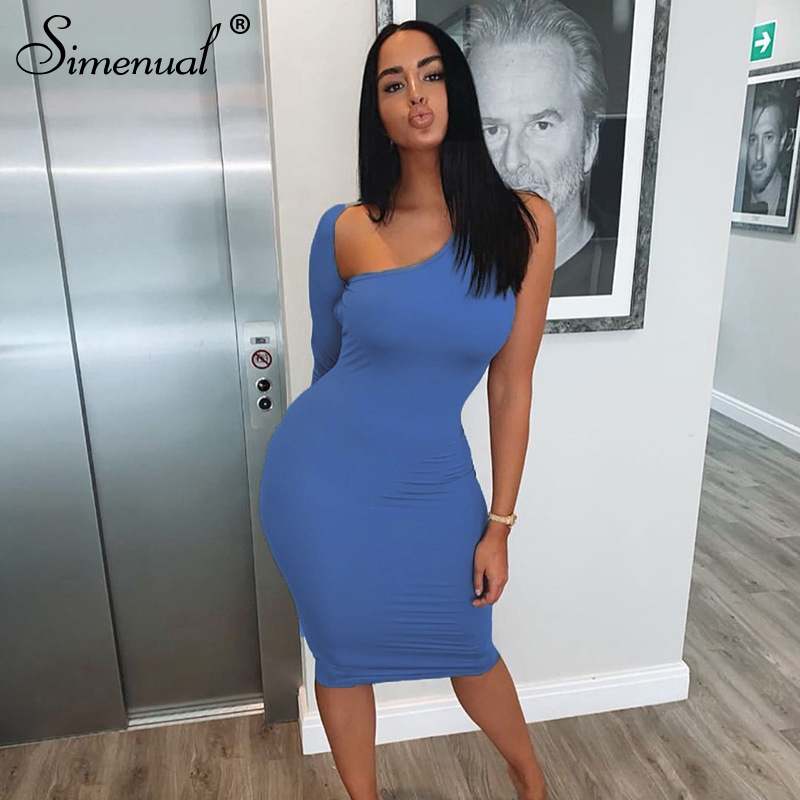Simenual Classic <font><b>Blue</b></font> Blackless Women Midi <font><b>Dress</b></font> One Shoulder Long Sleeve Fashion <font><b>Sexy</b></font> Skinny Party <font><b>Dresses</b></font> <font><b>Bodycon</b></font> Hot Clubwear image