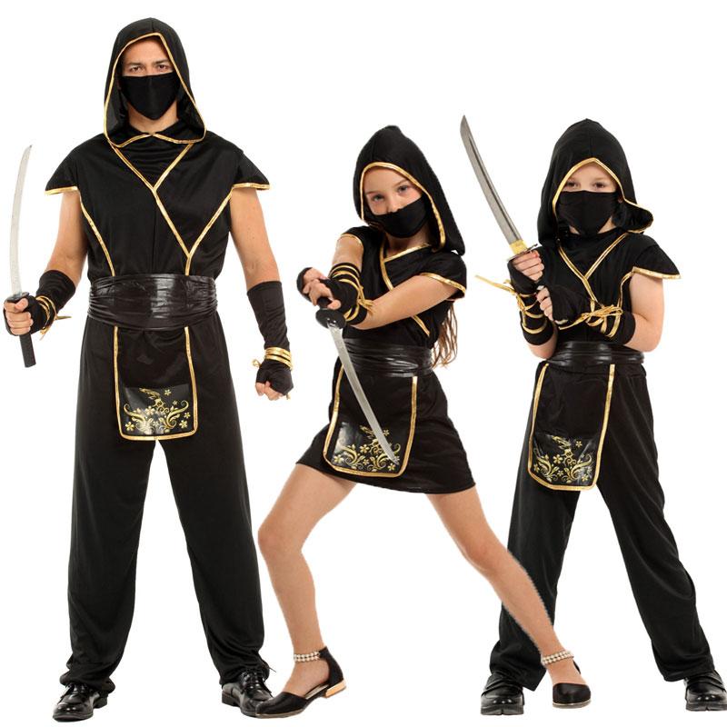 Umorden Halloween Kostüme für Kind Kinder Erwachsene Mystische Schwarz Gold Ninja Kostüm Japan Samurai Cosplay Jungen Mädchen Männer