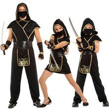 Umorden Halloween kostiumy dla dzieci dzieci dorosłych mistyczne czarne złoto Ninja kostium japoński samuraj Cosplay chłopcy dziewczęta mężczyźni tanie tanio CN (pochodzenie) Kombinezony i pajacyki accessories HOLIDAY Unisex Zestawy WSJ688 Poliester Halloween Costume for Family