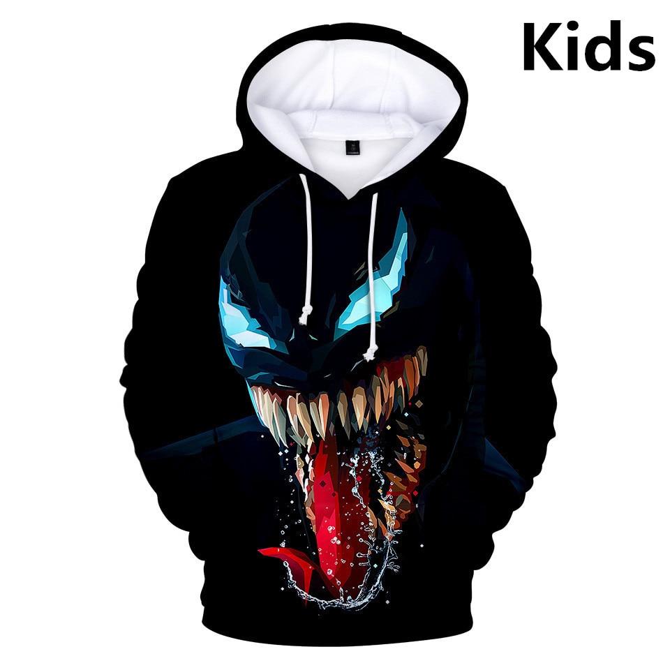 3 To 14 Years Kids Hoodies Movie Venom 3D Printed Hoodie Sweatshirt Boys Girls Cosplay Cartoon Jacket Coat Children Clothes