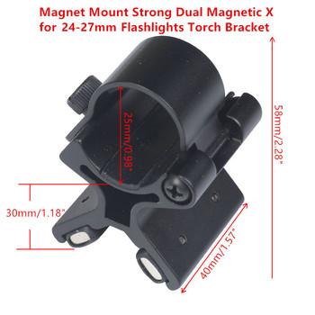 Mocowanie magnetyczne mocny podwójny magnetyczny X do latarek 24-27mm uchwyt uchwytu lunety pistoletowe mocowanie taktyczne tanie i dobre opinie 24-27mm Flashlights Torch Bracket Scope Inne Magnet Mount Strong Dual Magnetic X Stable X-shape frame with super magnet