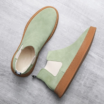 2020 Spring  Men Shoes Suede Leather High-top Men Casual Shoes Slip-on Mens Loafers Comfortable Flat Man Boots Zapatos Hombre