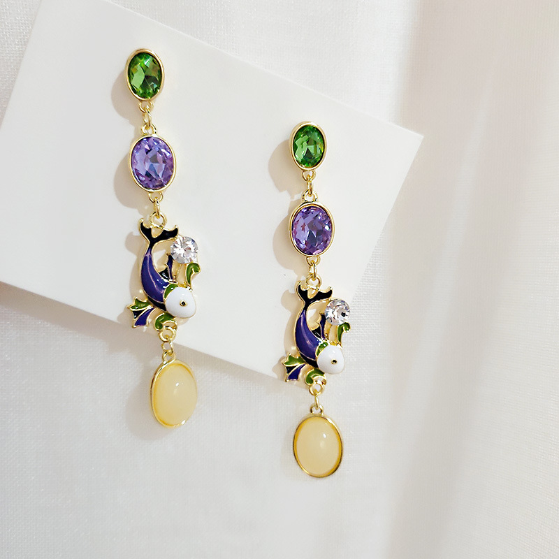 Retro Palace Wind-coloured Glazed Water Drops Long Earrings Chinese Wind Fashion Simple Crystal Earrings For Women