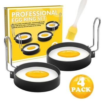 2x Negro Antiadherente Molde De Huevo Anillos Redondo Anillo De Metal Cocina huevos fritos Totalmente Nuevo