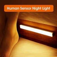 Luz LED de noche inalámbrica con Sensor de movimiento, lámpara de noche recargable vía USB de 20, 30, 40 y 50cm para cocina, armario, armario y pared, 2020