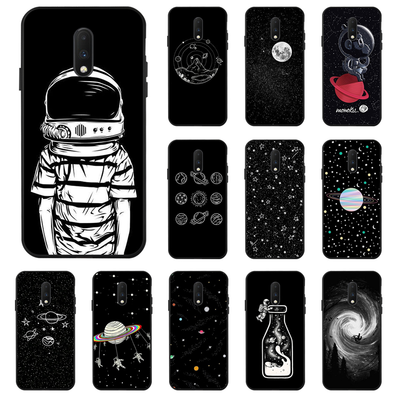 Space Moon Astronaut <font><b>Case</b></font> For <font><b>OnePlus</b></font> 7 Pro 7T <font><b>Case</b></font> Coque Black Painted Phone <font><b>Cases</b></font> For One Plus 7 7T Pro 6 <font><b>6T</b></font> 7Pro Cover <font><b>Bumper</b></font> image
