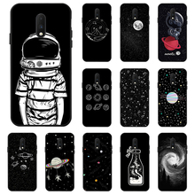 Space Moon Astronaut Case For OnePlus 7 Pro 7T Case Coque Black Painted Phone Cases For One Plus 7 7T Pro 6 6T 7Pro Cover Bumper