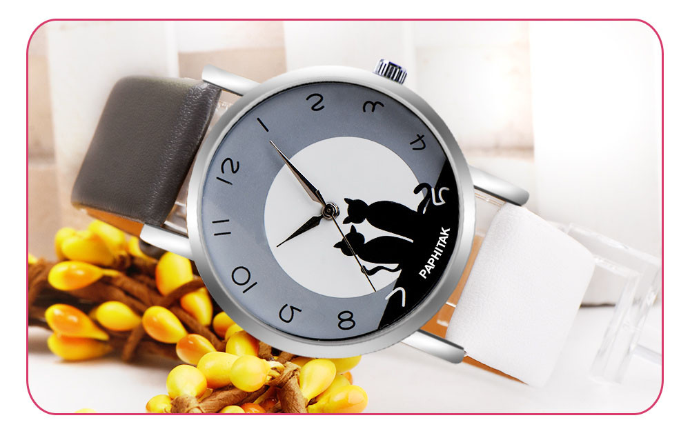 Watch Women Pretty Cute Cat Pattern Womens Cat Faux Leather Analog Quartz Watch Zegarek Damski Reloj Mujer часы женские