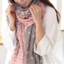 Women Polk Dots Shawls scarves Wraps Stole silk sca