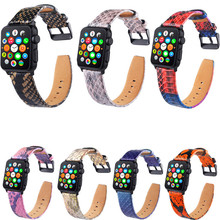 Snake skin pattern Leather Iwatch Strap for apple watch band 42/38mm Bracelet iwatch 4 44/40mm series 4/3/2/1 accessory