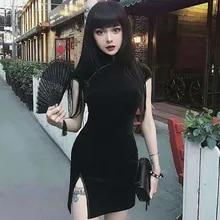 Linen Dress Butterfly-Print Short-Sleeve V-Neck Cotton Plus-Size Women Casual Sagace
