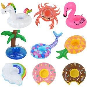 Portavasos inflable de flamenco y unicornio, soporte para bebida, piscina flotante para baño, juguete de piscina, decoración Hawaiana para fiesta de verano