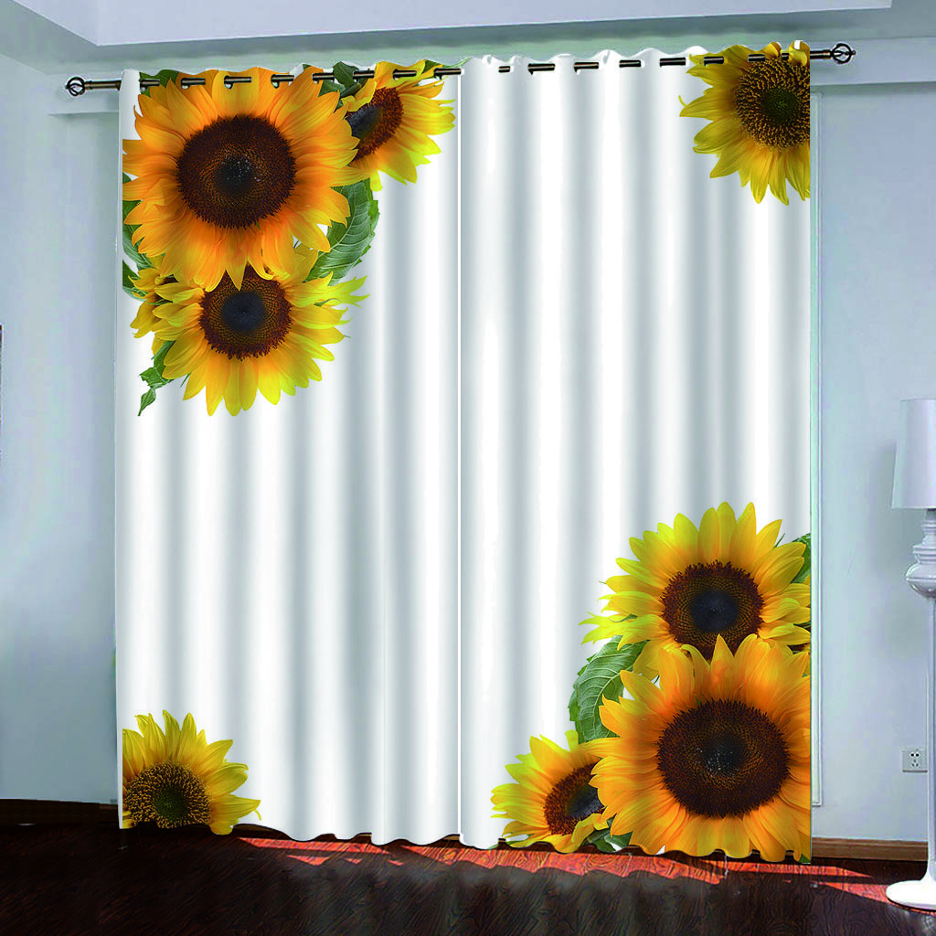 Solid Color Curtain White Background Flowers Sunflower Print Customized 3d Blackout Curtains Living Room Bedroom Hotel Window Aliexpress