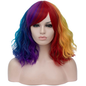 Image 4 - MSIWIGS Black and White Cosplay Wigs for Women Wavy Short Synthetic Wig Purple Rainbow Heat Resistant