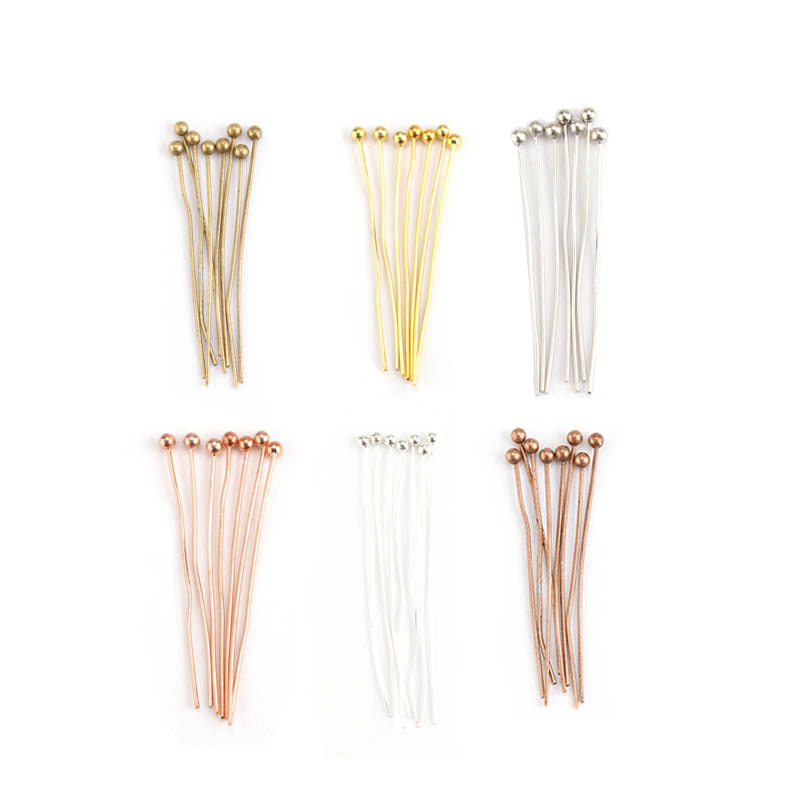 200pcs Metal Beading Pins Diy Findings Bead Head Needles Accessories Supplies For Diy Jewelry Making Supplier 18/20/22/28/40mm