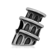 Reamor Travel Spacer Beads Stainless Torre di Pisa/Tower Bridge/triumphal arch Big Hole Beads Charm European DIY Finding(China)