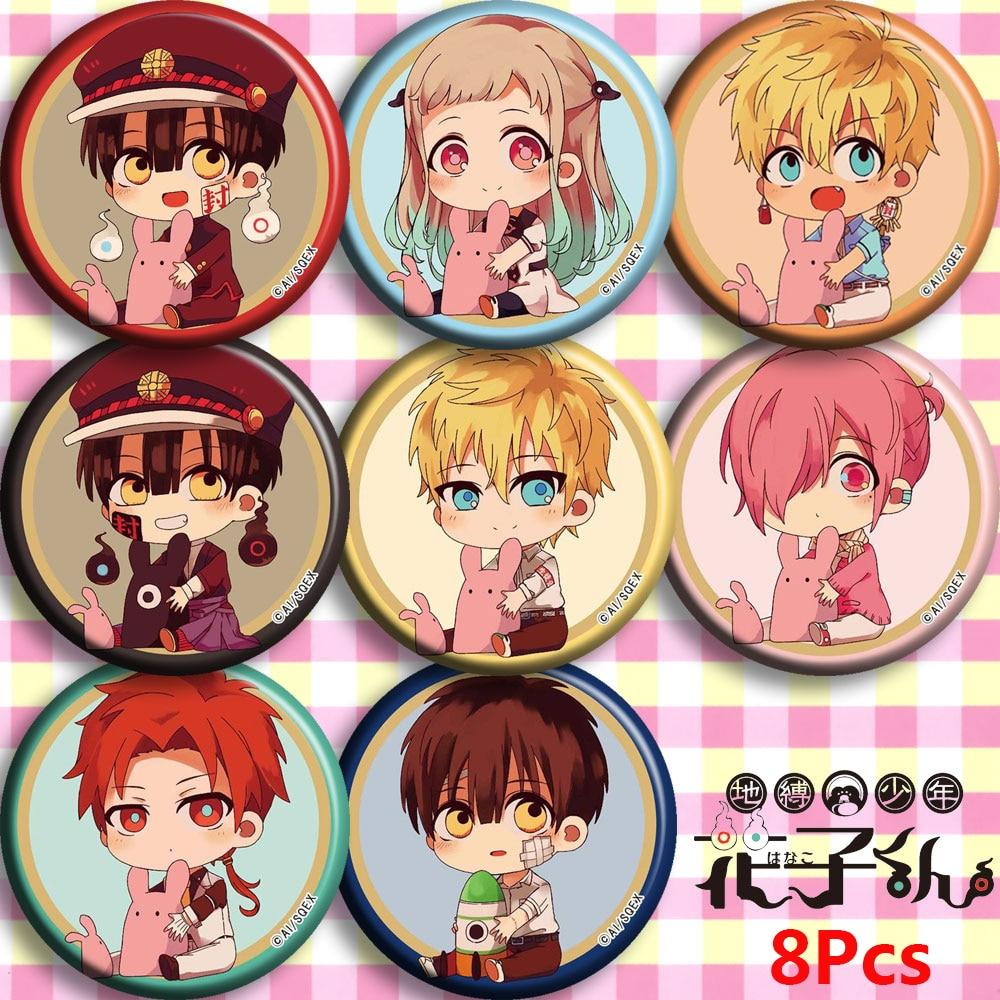 Anime Toilet-Bound Hanako-kun Nene Yashiro Kou Minamoto Cosplay Bedge Cartoon Collect Bag Badge For Backpack Button Brooch Pin